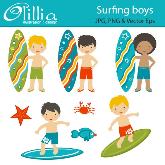 Surfing boys adorable surfers are great for scrapbooking for Surfboard craft for kids