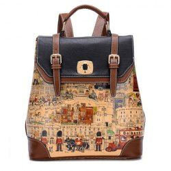 $25.43 British Style Women's Satchel With Buckles and Floral Print Design