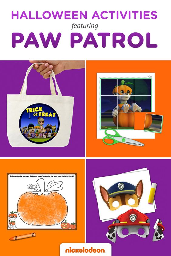 Kids will love these spooky coloring pages, costume accessories, and more featuring the pups from PAW Patrol!  Halloween is just around the corner, which means it's time to break out the doggy ears and tiny tails for your PAW Patrol fan's Skye or Marshall costume. We've got printable masks, trick-or-treat sack decals and tons more entertainment to make it your most PAWsome Halloween yet.