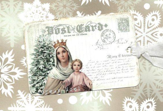 Kerstmis, Gift Tags, religieuze, Madonna en kind, religieuze Tags, Frans kerst
