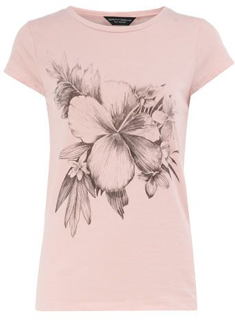 Dorothy Perkins Pink hibiscus motif tee - available in plus sizes.
