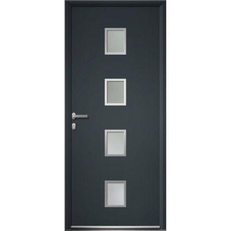Porte d 39 entr e aluminium baltimore artens poussant gauche h215 x l90 cm porte d 39 entr e for Porte entree vitree lapeyre