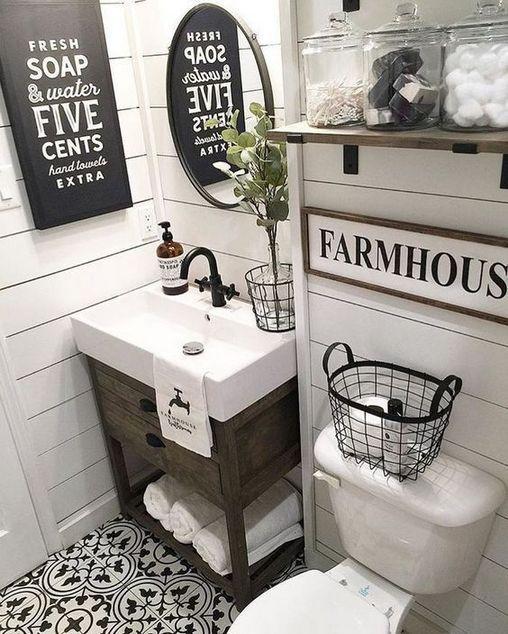 35 The New Fuss About Small Farmhouse Bathroom Half Baths Powder Rooms 59 Bdar Farmhouse Master Bathroom Farmhouse Bathroom Decor Modern Farmhouse Bathroom