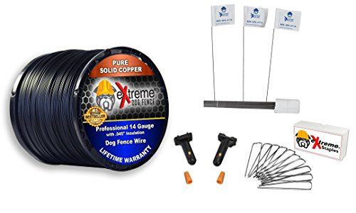 Dog Fence Wire Setup Kit 1000 Feet Of 14 Gauge Wire 100 Training Flags 200 Staples And 2 Pro Grade Splice Kits For 1 Acre Compatible With All Electric Dog Dog Fence Dog Supplies Online Pet Fence