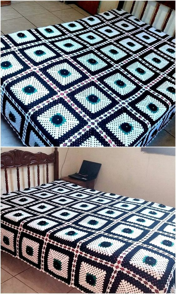 Now we are going to present an idea with the white and dark colored combination, this is also an idea with the square boxes design. It is not a difficult design to copy for the person, who is new to crocheting and the color of the yarns can be selected according to the taste as well.