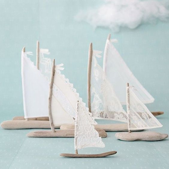 Get in the summer state of mind with these driftwood sailboats by Sofia Tryon.