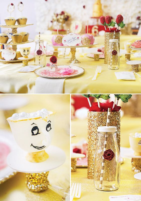 Candy table beauty and the beast ideas pinterest for Beauty and beast table decorations
