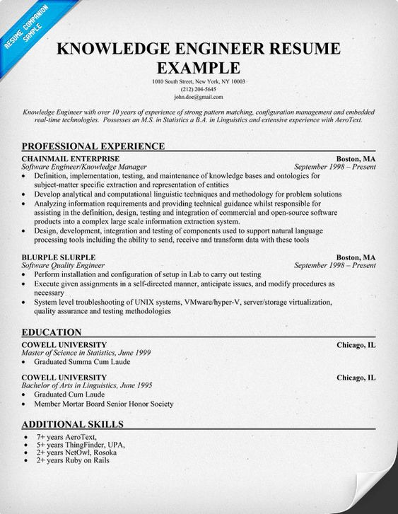 Knowledge Engineer Resume Example Resume Prep Pinterest - engineer resume examples