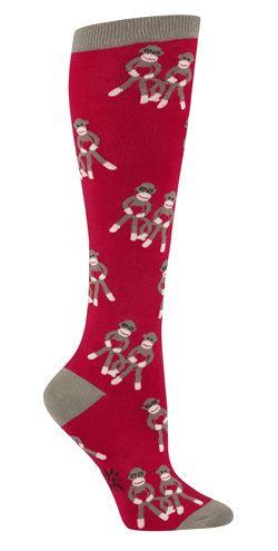 The Joy of Socks - Sock Monkey Love Knee Socks (Women's), $10.00 (http://www.joyofsocks.com/sock-monkey-love-knee-socks-womens/)