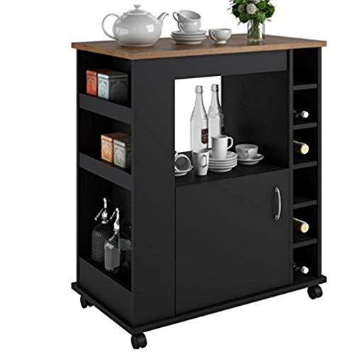 Portable Kitchen Island Cart With Wine Rack Rolling Utility Island Is Perfect For Serving Guests In Style In A Durable Wood Design With Drawer Stora With Images Diy Kitchen Storage