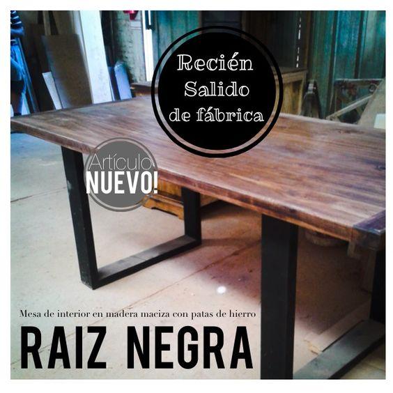 Mesa de comedor con madera maciza y patas de hierro negras ...