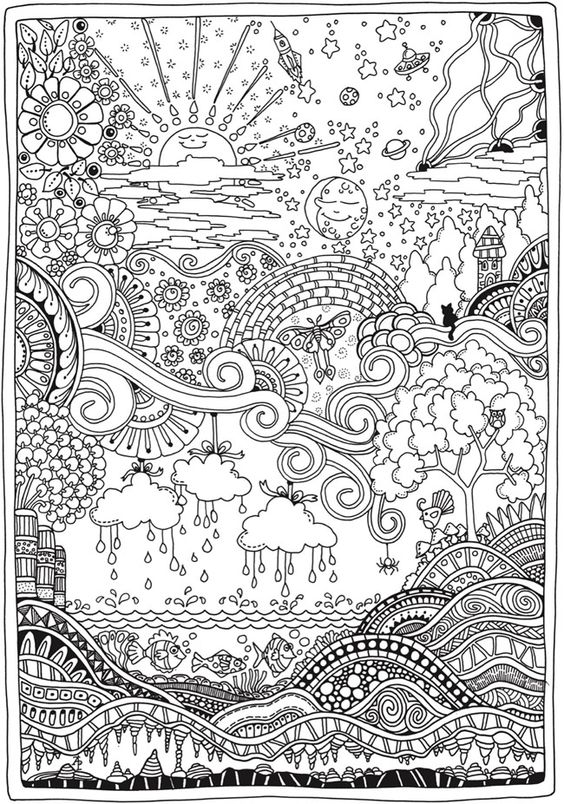Advanced Landscape Coloring Pages : Images about coloring on pinterest adult
