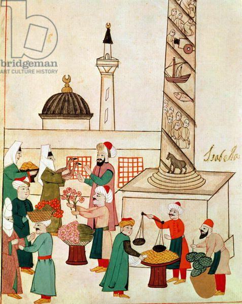 Ms 1671 A Bazaar in Istanbul, c.1580 (gouache on paper)