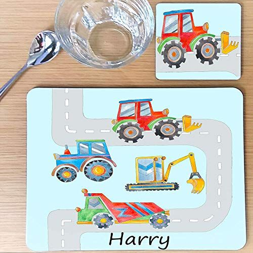 tigerlilyprints Childrens Personalised Placemat /& Coaster Set Gift Table Mat Noahs Arc