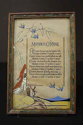 Mother O' Mine Rudyard Kipling Poem Framed Art Page W/ Colorful Illustration