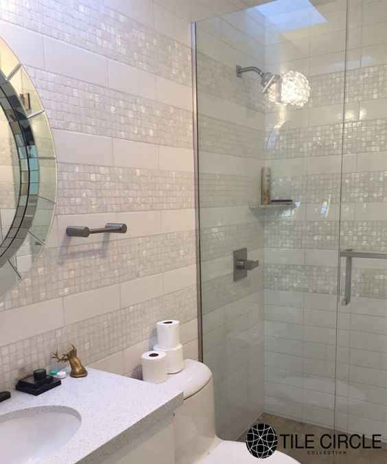 A Stunning And Unique Bathroom Tile Installation Using Mother Of Pearl Tiles From