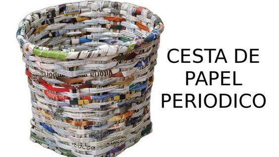 Reciclaje de papel cesta de papel peri dico manualidades - Cestas de papel periodico ...