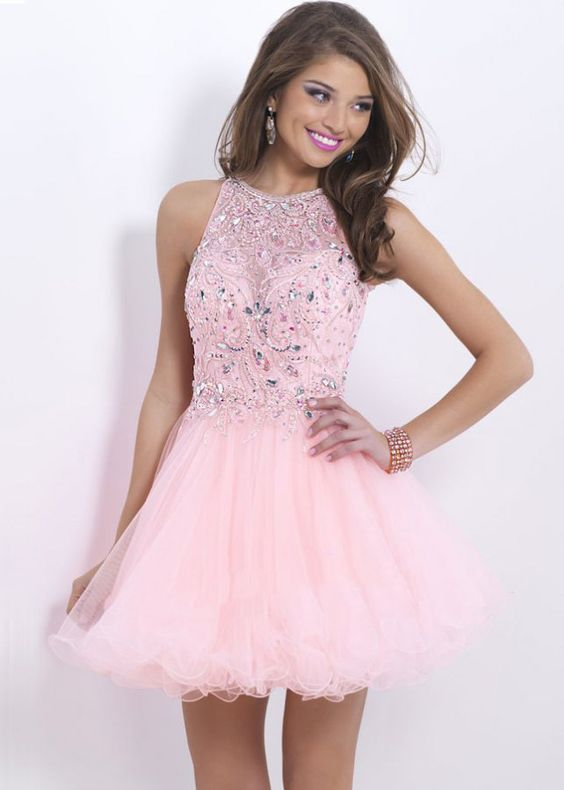 Pink Sheer Neck Keyhole Back Beaded Short Prom Dress