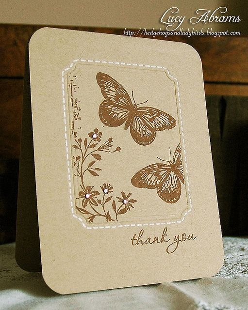 simple stamped thank you card