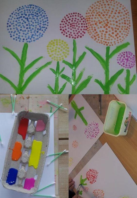 Bloemen leuk om met kinderen te maken wattenstaafjes een stukje papier een paar kleuren - Hoe om kleuren te maken ...