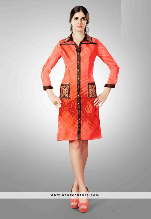Refreshing Embroidery Work Georgette Party Wear Kurti