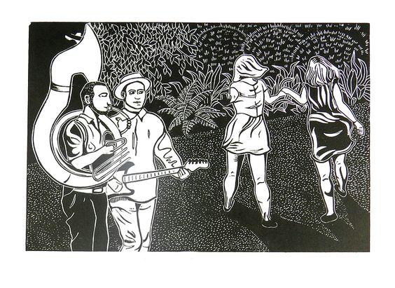 Brighton afternoon, girls, dancing, musicians, rockabilly, Jazz, Brighton, linocut, print, hand-pulled, black & white, Ellen Von Wiegand