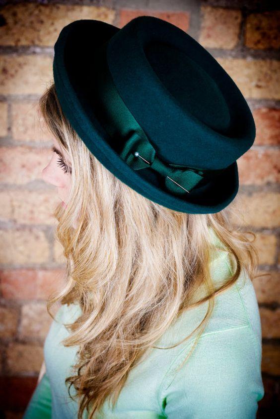 Ladies #porkpie #hat in forest green. by EmilyJaneMillinery on Etsy, £70.00