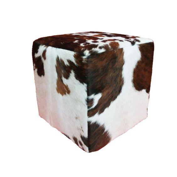 Pouf carré peau de vache noir marron et blanche - Mon Chalet Design