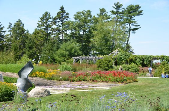 """The sculpture """"Boogie Woogie II"""" on the Great Lawn at Coastal Maine Botanical Gardens"""