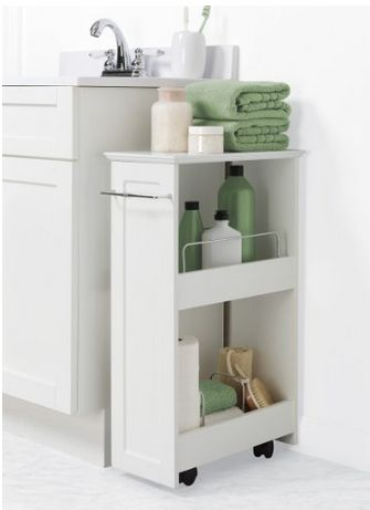 Small Narrow Cart On Wheels Laundry Room Bathroom Craft