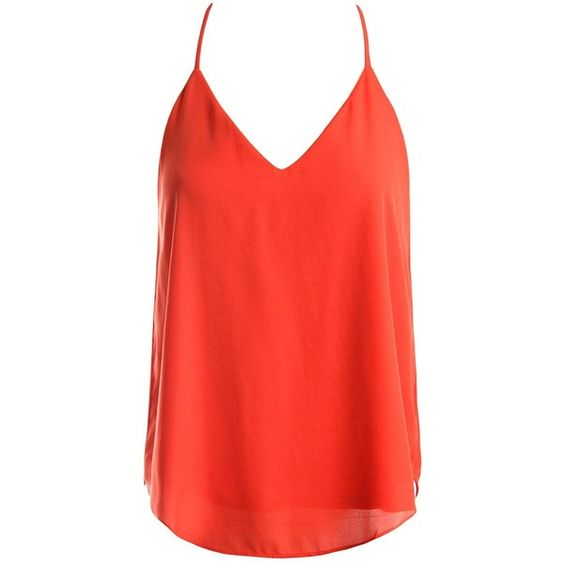 Sans Souci Strappy chiffon cami top (24 CAD) ❤ liked on Polyvore featuring tops, orange, v-neck camisoles, red tank, red top, orange camisole and chiffon tank