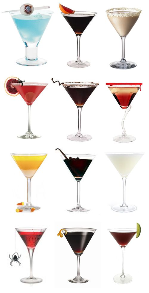 Halloween Martinis.... take your pick.  Has recipes for each picture you see.