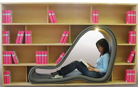 "Cave Bookshelf    Close yourself in the book cave. This bookshelf designed by Sakura Adachi, provides a reading place or cave. The ""cave"" gives you a feeling of hiding from others standing around and lets you enjoy your book in peace."