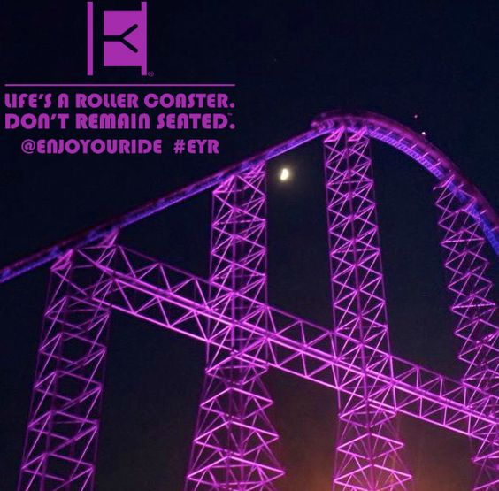 On Tuesday, we wear Purple .  Life's a roller coaster. Don't remain seated. @ENJOYOURIDE #EYR www.looseleafbrands.com