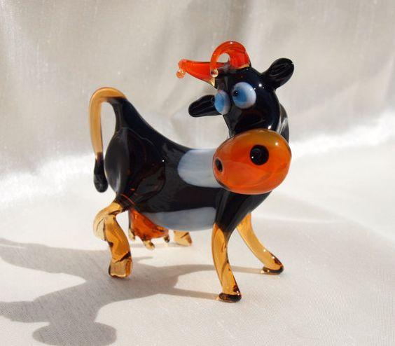 Niedliche Glas Kuh. Skurrilen Figur mit viel von Cuteglassanimals