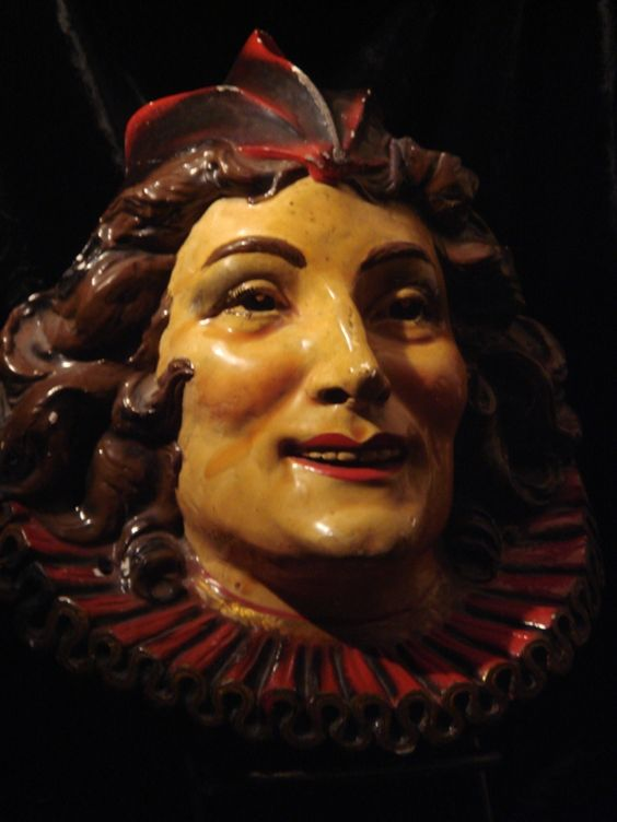 A wonderful and rare 1930s court jester carnival head. Available at Gothic Rose Antiques - online or at the store in Placerville, CA. This lady has things that I have never seen anywhere else.