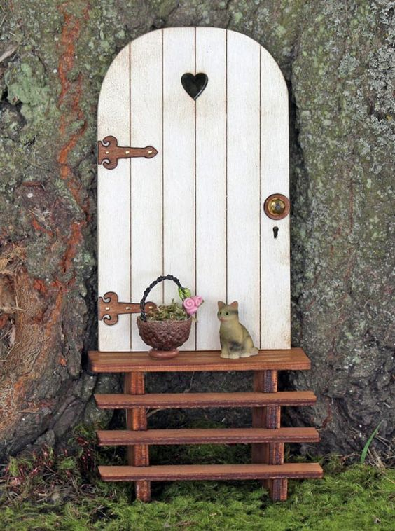 Fairy Garden Miniatures Doors with steps Fairy Gardens