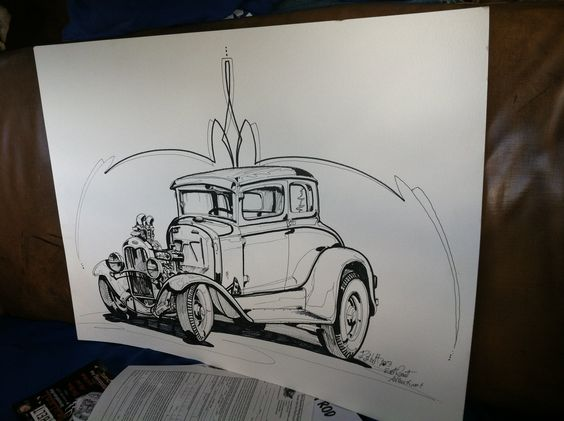Hand drawn sketch of our '30 Model A