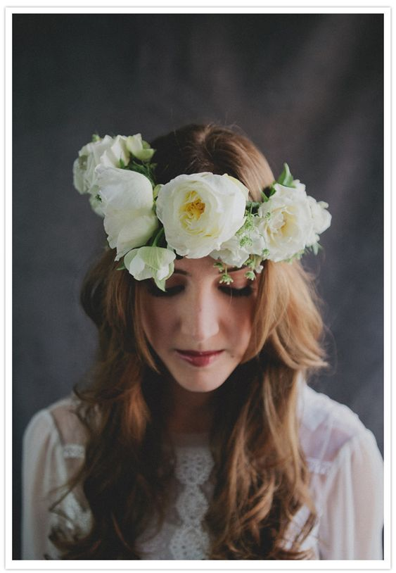 Sullivan Owen's floral headpieces on 100 Layer Cake    *please keep the credit*