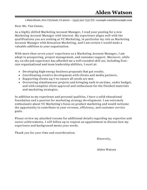 Cover Letter For National Account Manager Oxbridge Training