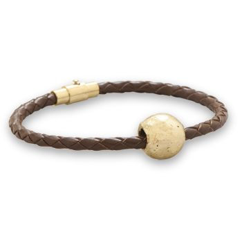 Handmade in Africa! High grade leather and 22K Gold Plated Brass Bead