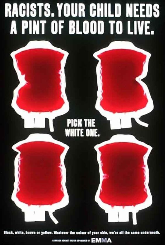 A display that every single person has the same colour blood on the inside no matter what ethnicity or background they come from
