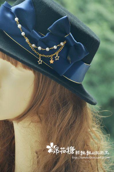 【礼帽】观星者 星星珠链蝴蝶结平顶礼帽 lolita洋装配件cla系
