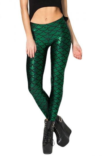 Womens Mermaid Fish Scales Print Shiny Ankle-length Leggings Green - PINK QUEEN