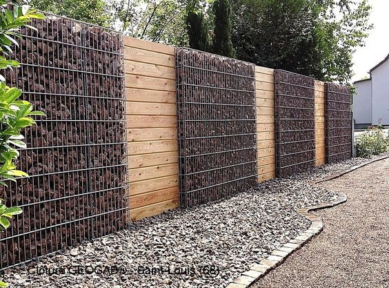 Cloture gabion et bois am nagement ext rieur pinterest for Separation jardin en bois