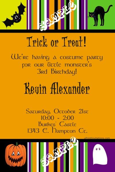 Halloween Birthday Party Invitations - Get these invitations RIGHT NOW. Design yourself online, download and print IMMEDIATELY! Or choose my printing services. No software download is required. Free to try!