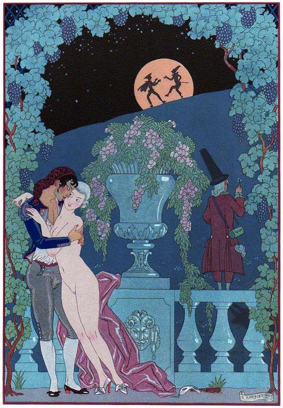 Georges Barbier (1882-1932) — 'Les Fêtes Galantes' by Paul Verlaine, 1921 (650×937):