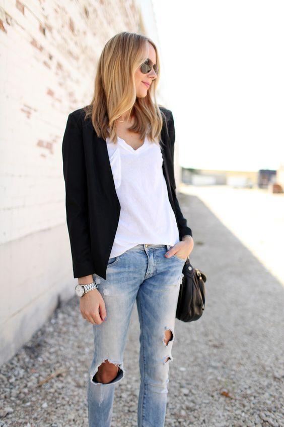 Tart Gaby Blazer in Black, White Tshirt, Ripped Skinny Jeans