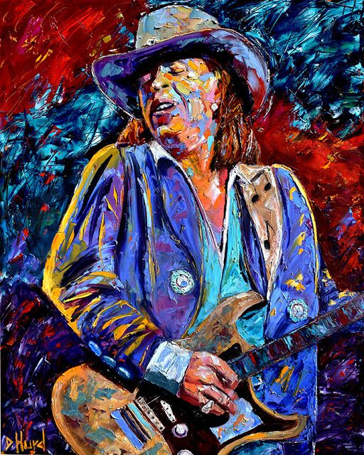 Fresh Off The Easel Stevie Ray Vaughan Painting Guitar Art Rock And Blues Paintings Stevie Ray Vaughn Live By Debra Hurd 30 X24 Oi Painting Art Guitar Art