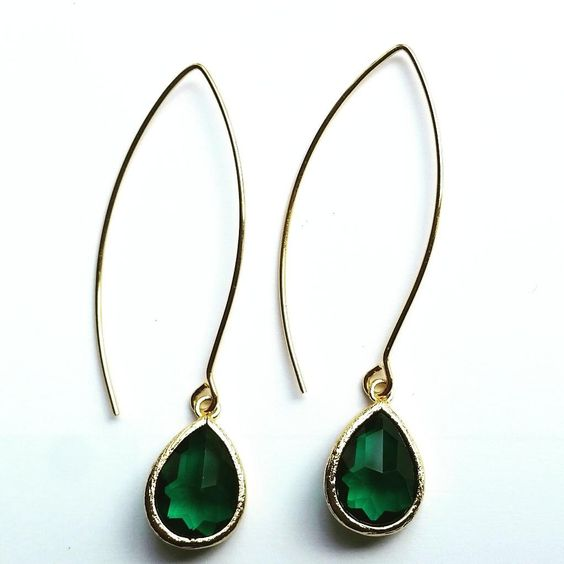 Gorgeous emerald green faceted crystal glass drop dangle from elegant marquise earwire. Very lightweight and super chic! Perfect for day to evening Glam! Handmade Gold-plated brass 2.3 inches Brass Crystal Glass
